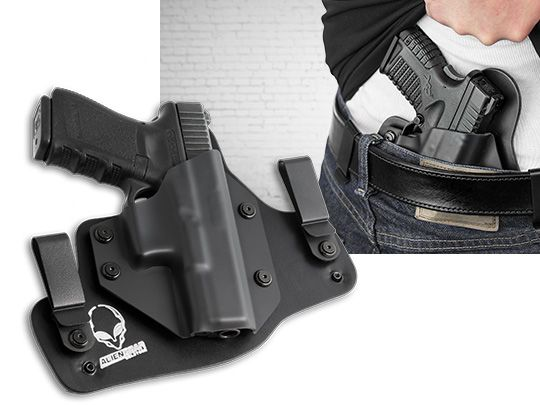 Glock - 38 with Crimson Trace Defender Laser DS-121 Alien Gear Cloak Tuck IWB Holster (Inside the Waistband)