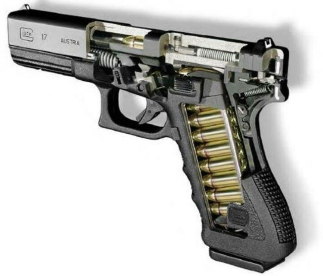 cutaway view of the Glock 17's insides